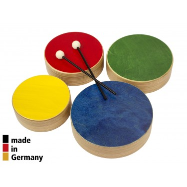 Set of 4 Colored Wooden Toms + 2 Beaters - 3+