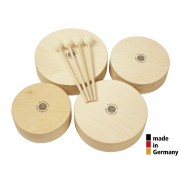 Set of 4 Wooden Toms + 4 Beaters - 3+