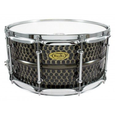 "BKH-6514SH - Black Dawg 14"" x 6.5"" Snare Drum - Hammered Brass Shell"